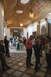 people visiting the  Bahia Palace, one of the things to do in Marrakesh