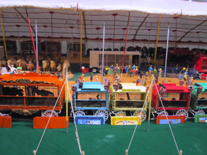 a display of a miniature circus, one of the must-see places on a Florida Gulf Coast road trip