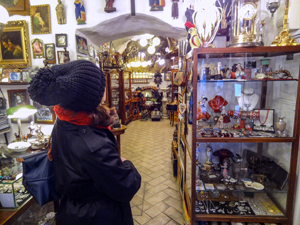 woman in a shop seen on a trip to Cesky Krumlov from Prague