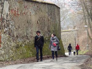 people walking in Cesky Krumlov