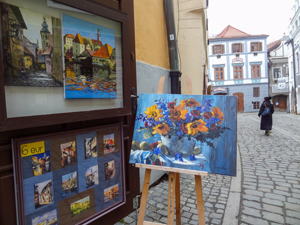 paintings for sale seen on a trip to Cesky Krumlov from Prague