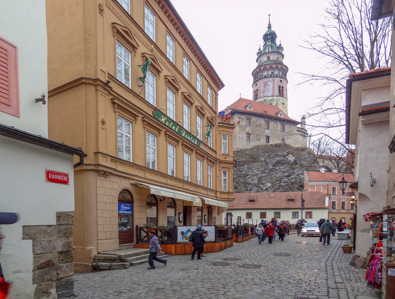A castle and street seen on a trip to Cesky Krumlov from Prague
