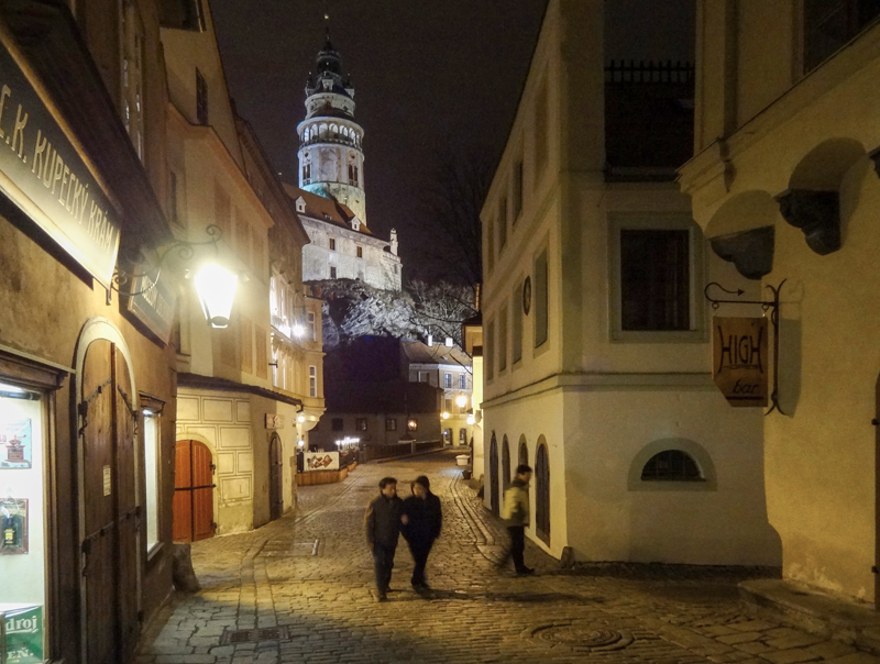people walking near Cesky Krumlov Castle in Old Town