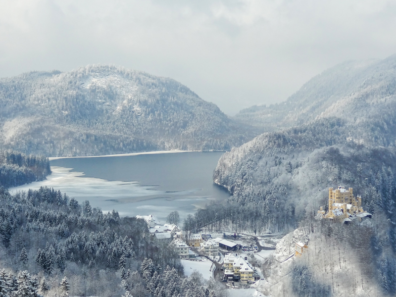 a town and lake in winter