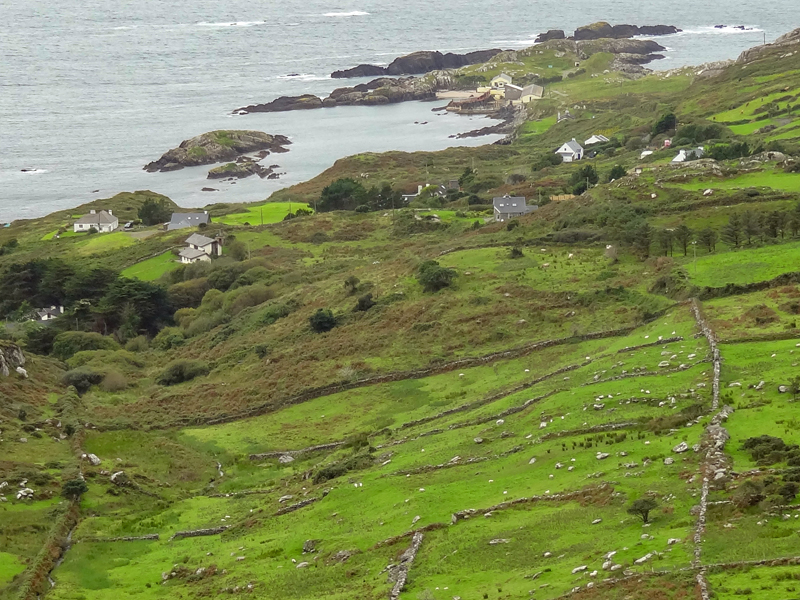 houses on a countryside by the ocean on Ireland's west coast