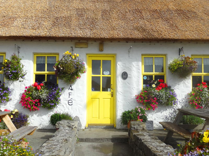 a cafe with a yellow door and flower in flower boxes