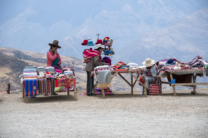 Indian women selling souveniers seen in Cusco and the Sacred Valley in Peru