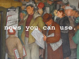 painting of men at a newsstand - News You Can Use – February 3 2021