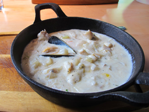 Nova Scotia Seafood Chowder in a pot