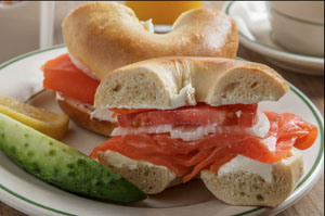 a bagel with lochs in one of the delis in New York City