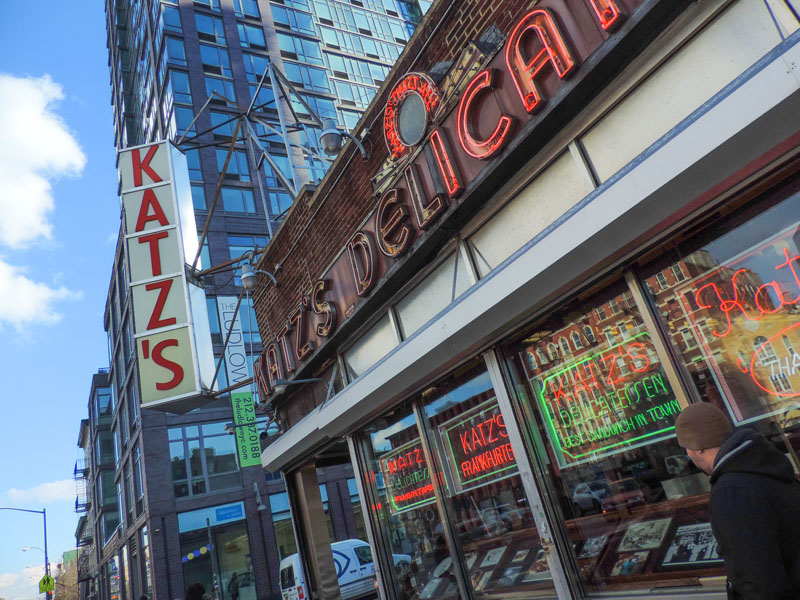the front of Katz's one of the delis in New York City
