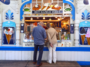 people at an ice cream stand in Tivoli Gardens