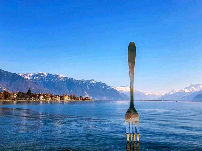 a large fork sculpture in a lake