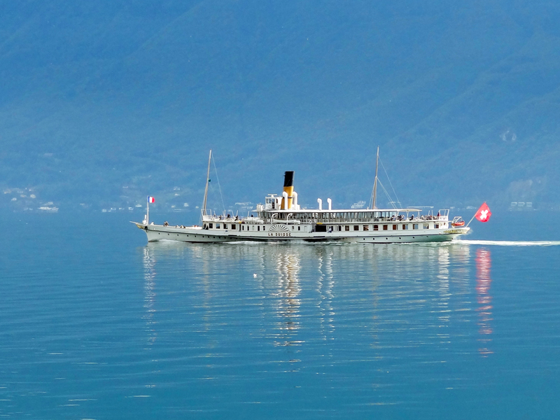 a steamship on a lake