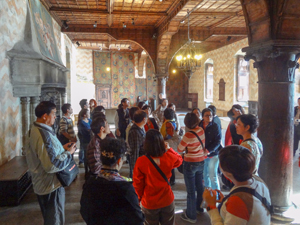 a tour group in a castle in Montreux Switzerland