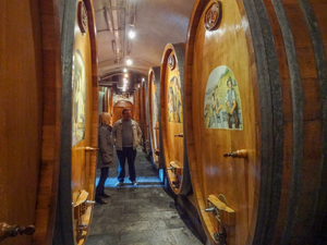 peiople looking at wine barrels in Montreux Switzerland