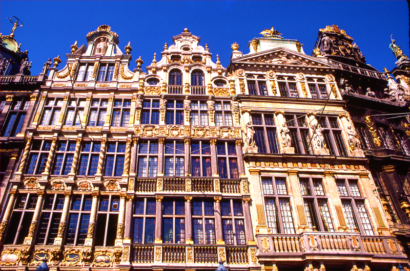 ornate fronts of old buidings in one of the places to visit in Belgium