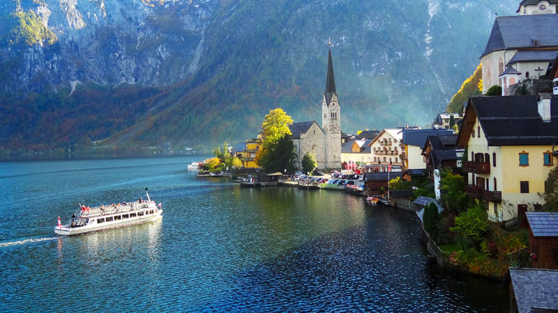 a lakeside village seen on a day trip from Salzburg