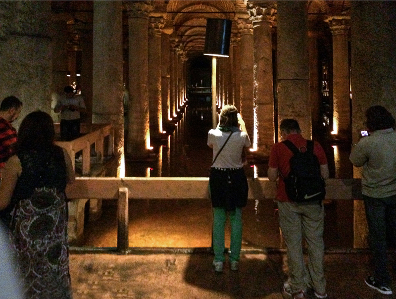 people in an ancient cistern