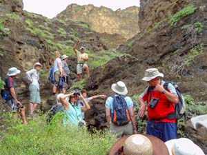 people on a hike on a Galapagos cruise vacation