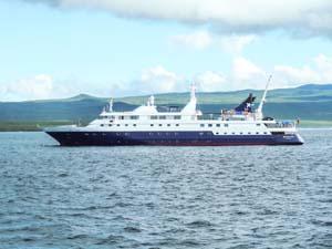 a cruise ship near an island