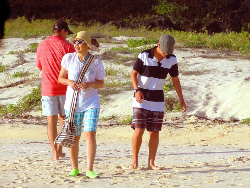 two boys and a girl walking along a beach