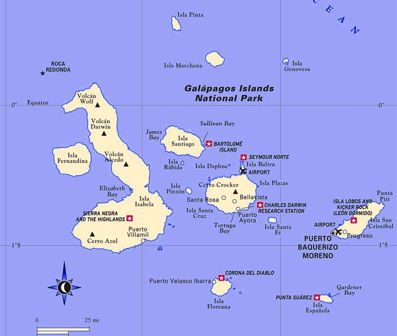a map of the Galapagos National Park