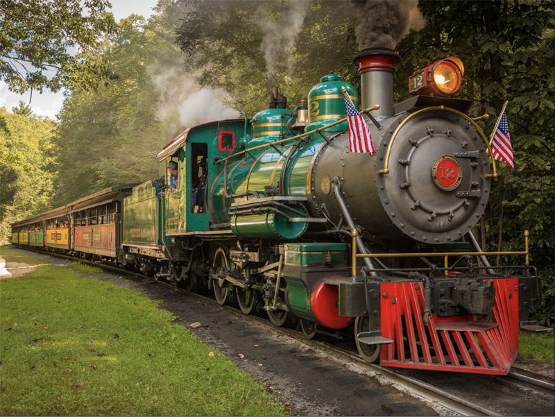 a large steam locomotives pulling train cars through the woods in the North Carolina High Country