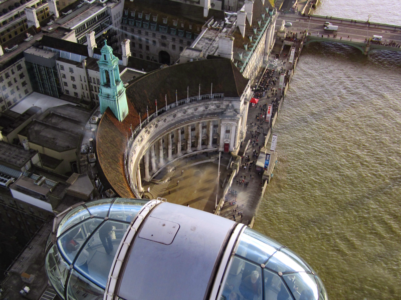 a curved building as seen from above