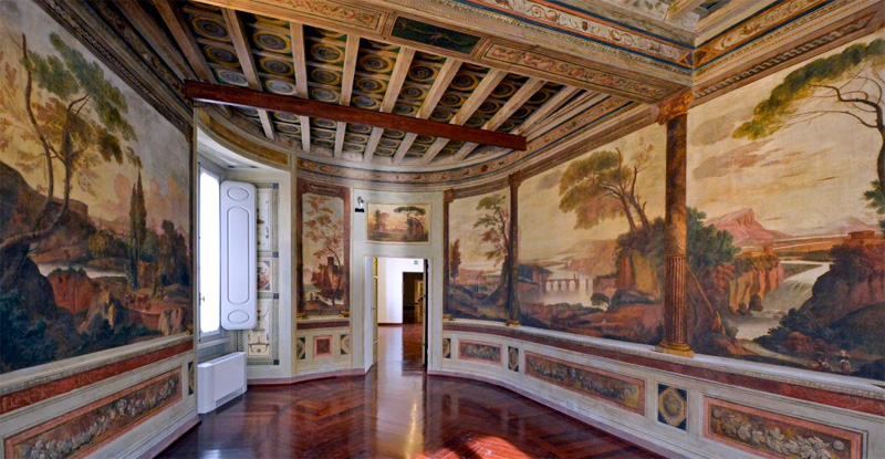 murals on a wall in a museum on the Piazza Navona
