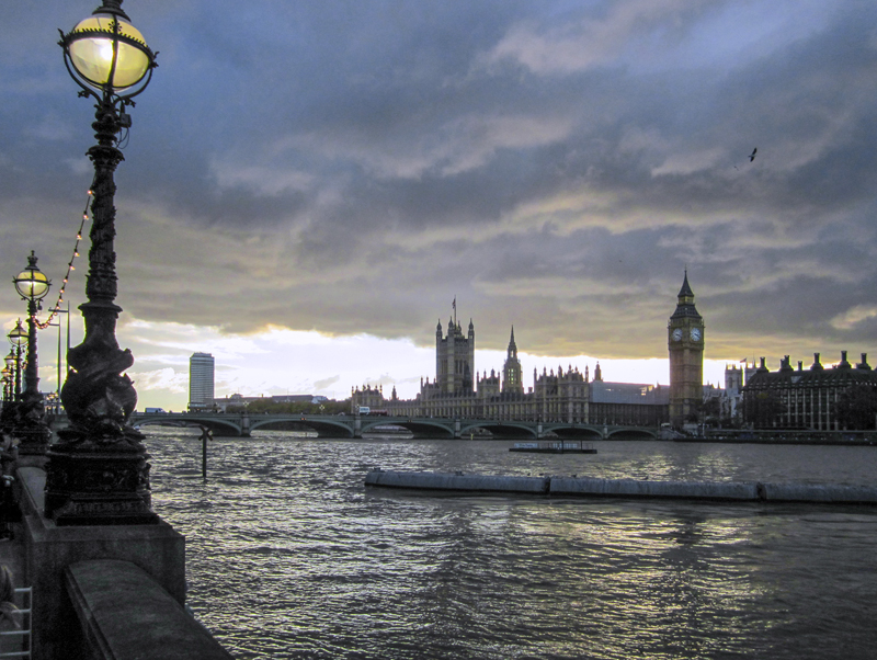 A view of London at dusk, as seen during a walk along the Thames