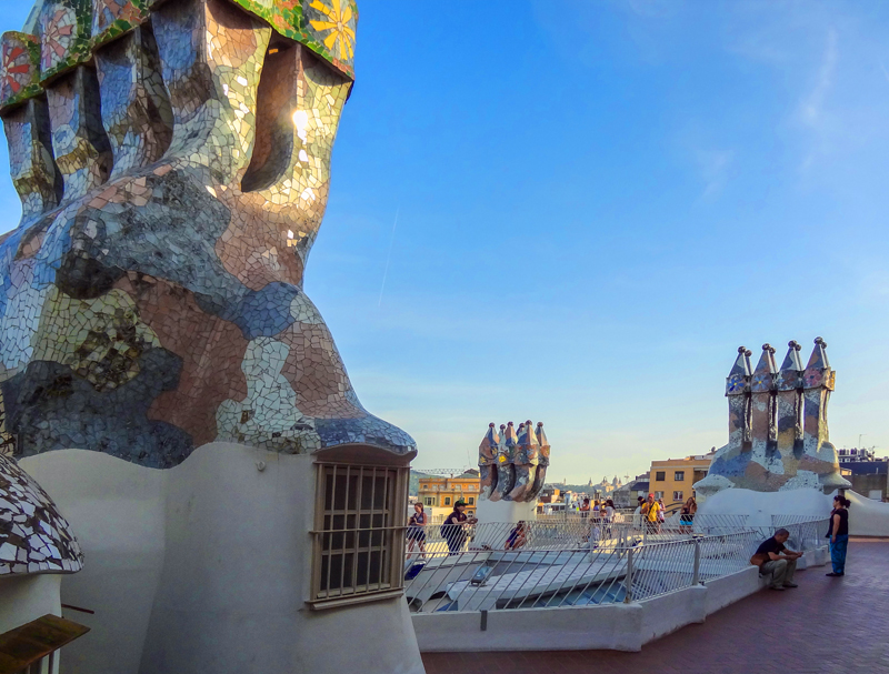 large whimsical chimneys on a rooftop - on one of the Gaudi buildings