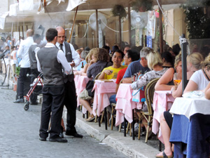 crowded cafes on the Piazza Navona