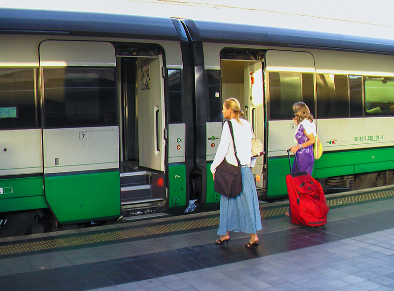 two women getting on a train in Italy