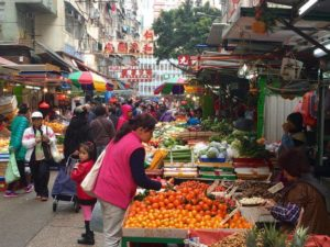 Kowloon Day 1 |Produce stand at street markets | Never to old to travel | Gary House