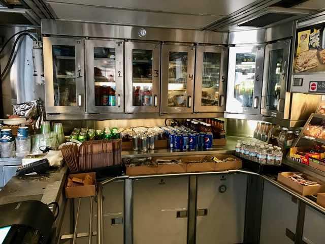 Fully stocked Amtrak cafe car | NevertoOldtoTravel.com | Gary House