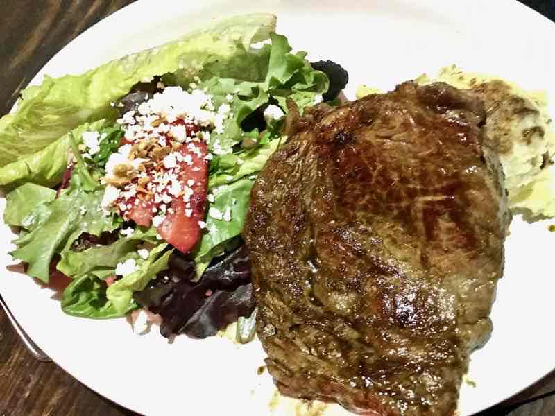12 oz. Ribeye Steak with Mashed Potatoes and Salad | NevertoOldtoTravel.com | Gary House