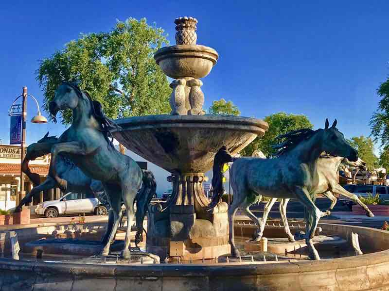 Bob Parks Horse Fountain located in Old Town Scottsdale | Nevertooldtotravel.com | Gary House