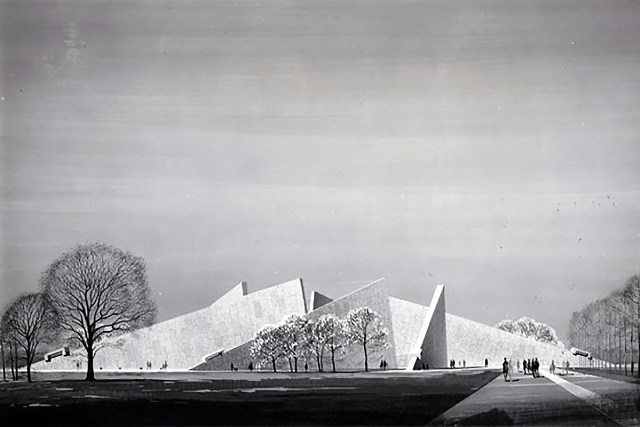 Franklin D. Roosevelt Memorial proposed by Marcel Breuer and Herbert Beckhard