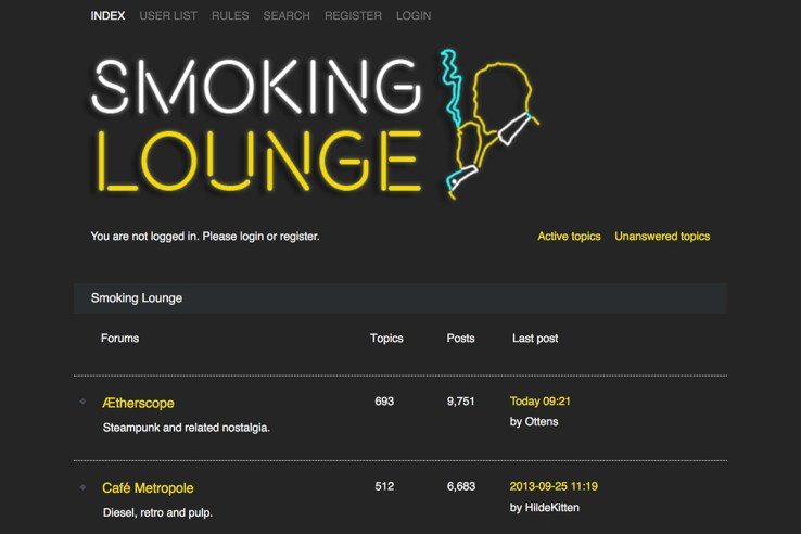 Smoking Lounge website