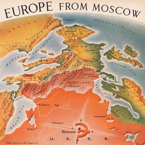 Europe from Moscow map