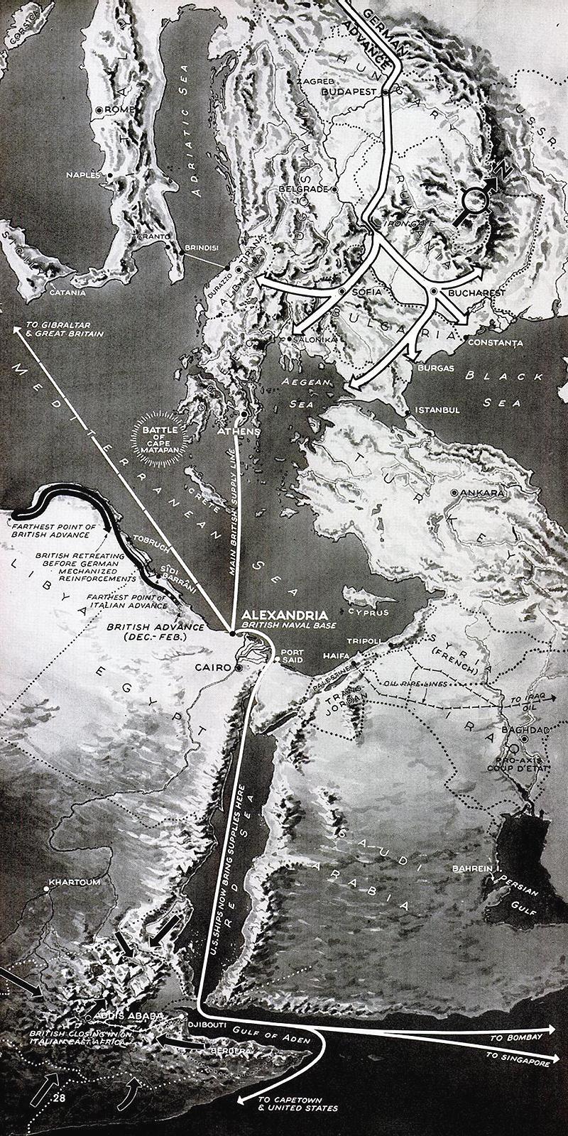 1941 Eastern Mediterranean map