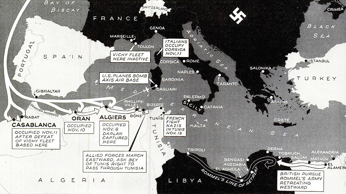 Allied invasion North Africa map