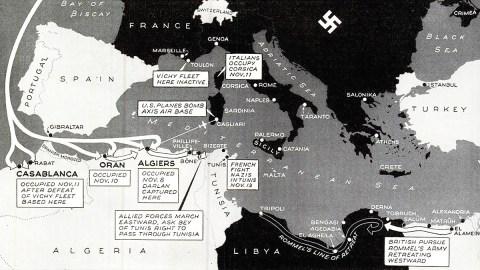 Allied invasion North Africa map