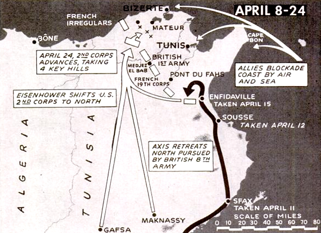 Allied invasion Tunisia map