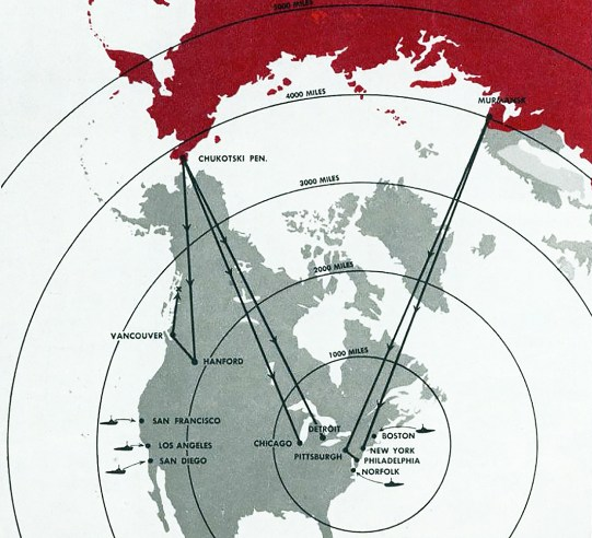 North America nuclear war map
