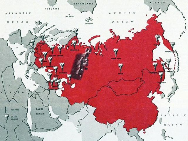 Soviet Union nuclear war map