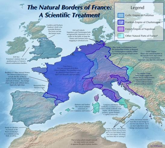 Natural borders France map