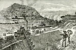 Panama Canal construction illustration