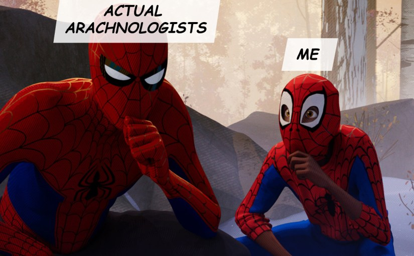 """Still from """"Spider-Man: Into the Spider-verse"""", showing an awed Miles Morales (""""me"""") copying Peter B. Parker (""""actual arachnologists"""")."""